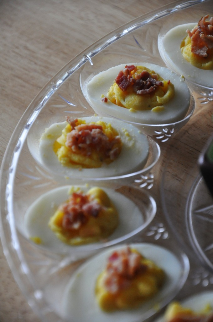 Fun Foods For The 4th - Bacon Cheddar Deviled Eggs - Our Ordinary Life