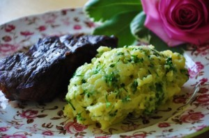 filet mignon and cheesy broccolini mashed potatoes
