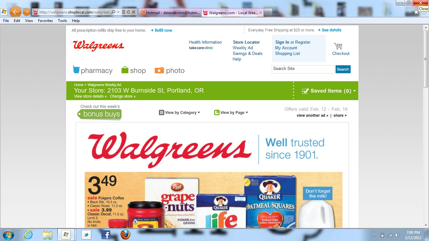 Walgreens is your home for Pharmacy, Photo and Health & Wellness products. Refill your prescriptions online, create memories with Walgreens Photo, and shop products for home delivery or Ship to Store. Walgreens. Trusted Since
