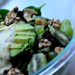 Spinach Walnut Kiwi and Grape Salad With Avocado & Poppy Seed Dressing