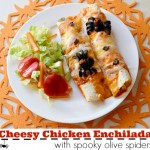 Cheesy Chicken Enchiladas With A Spooky Spider On Top #CalOlivesHalloween