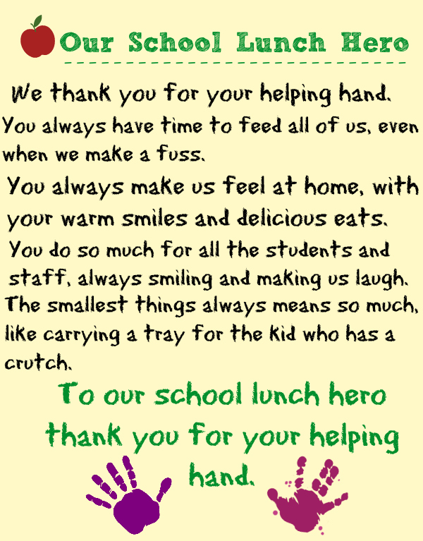 celebrate our school lunch hero I made this printable lunch lady poem ...
