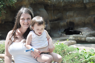 Mommy and baby at the grizzly exhibit at The Cincinnati Zoo & Botanical Garden