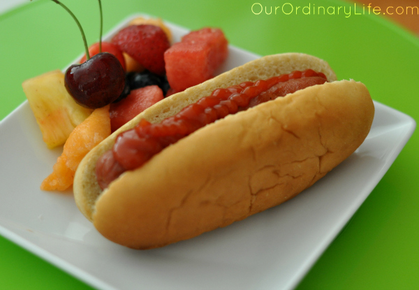 classic hotdog and fruit ketchup