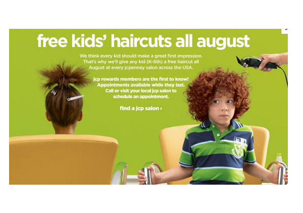 jcpenny free kids haircuts august 2012
