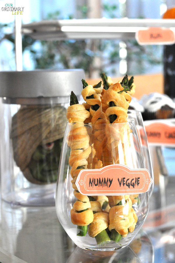 Halloween Party mummy veggies asparagus wrapped in dough