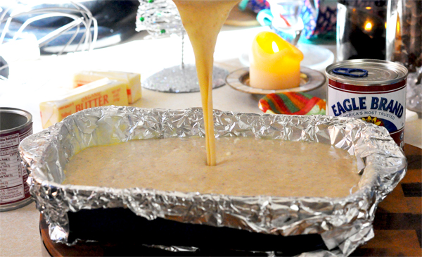 pouring fudge to cool