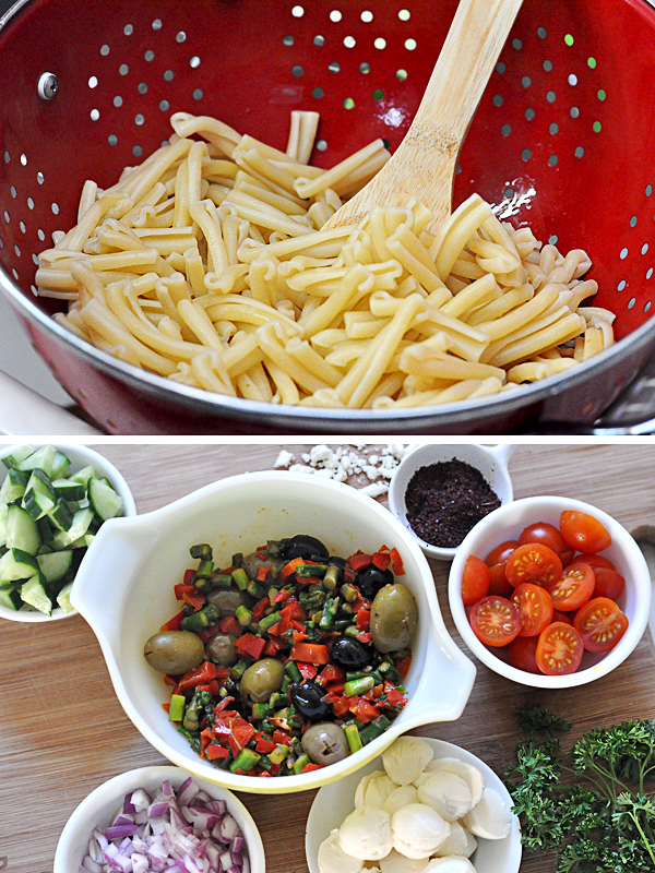 Greek Mediterranean Corn Oil Salad pasta mix vegetables