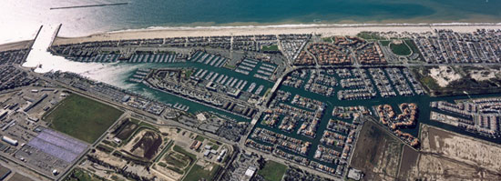 aerial view of ventura harbor