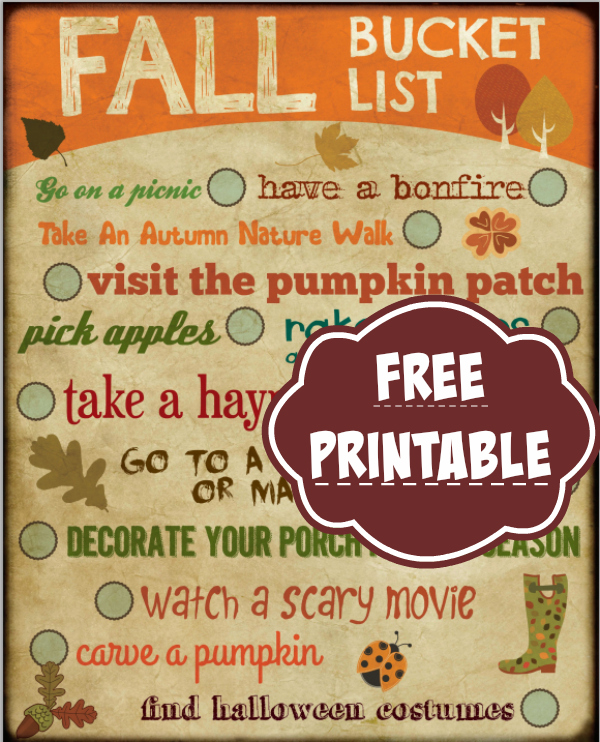 free fall bucket list printable