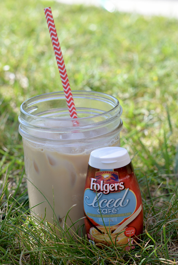 Folgers iced coffee with cake chocolate doughnuts