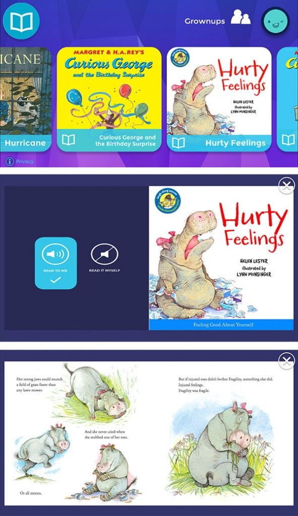 Curious World app story reading mode