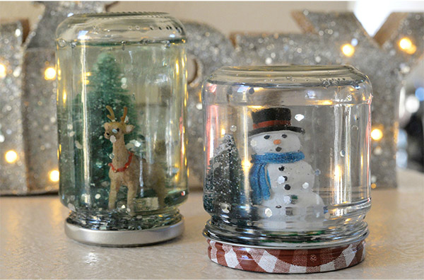 homemade snowglobe snowman deer old broken ornaments4