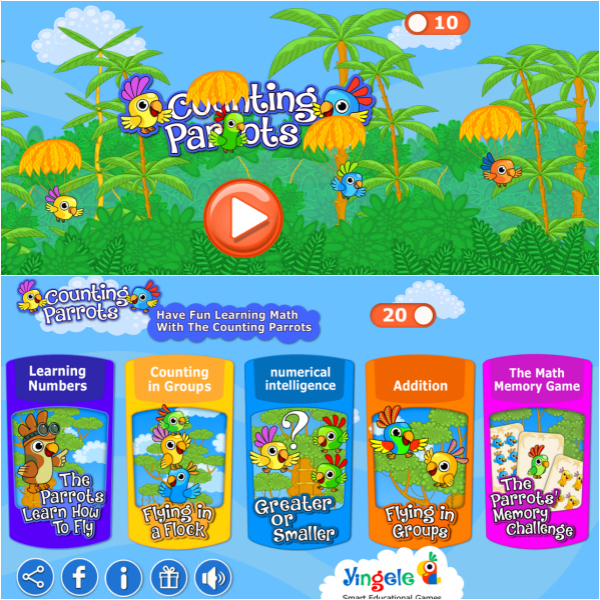 counting parrots toddlers app2