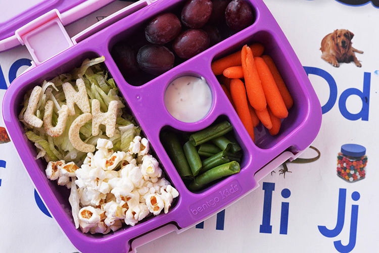 Popcorn fruit veggie lunch idea