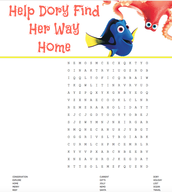 finding dory word search for christmas