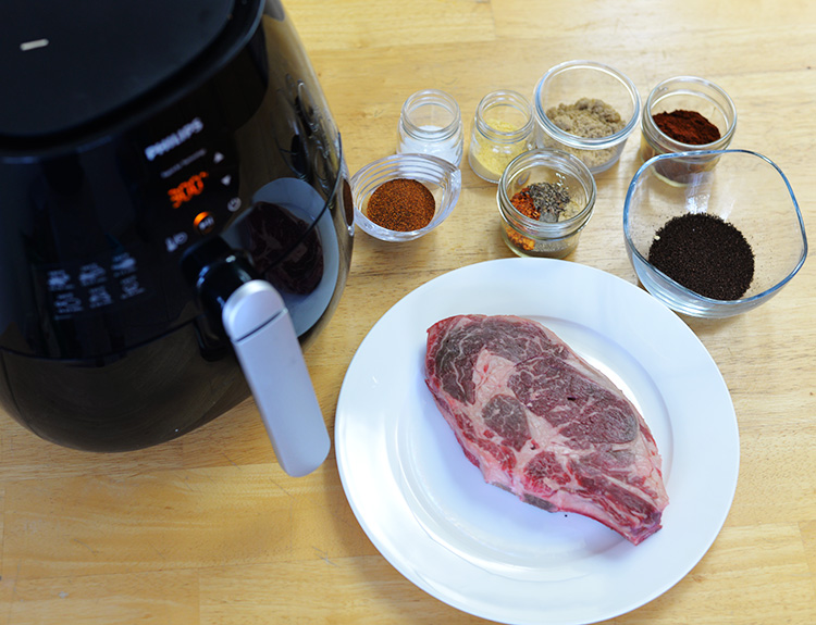 chili rubbed ribeye steak cook in airfryer