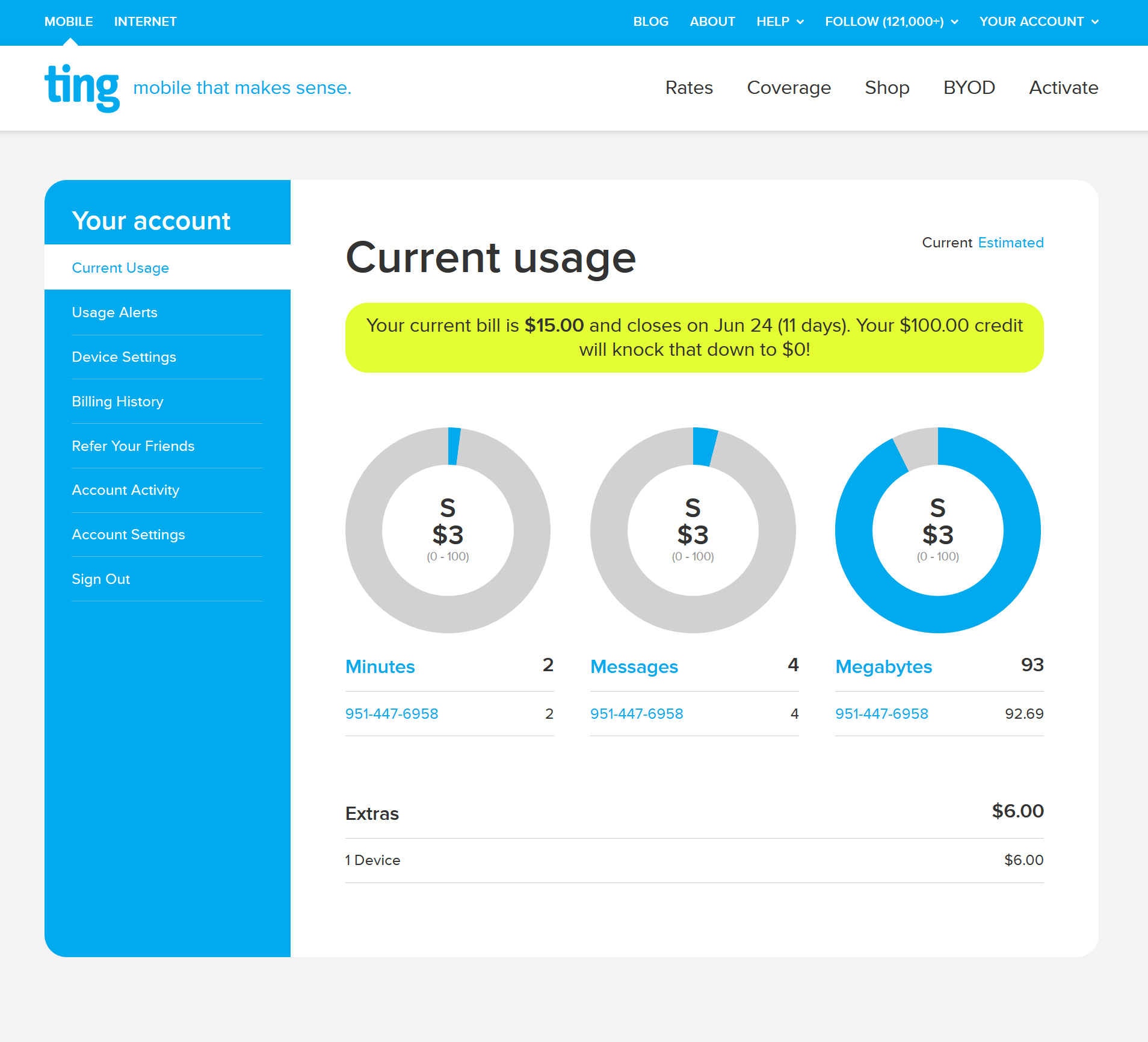 ting mobile online usage