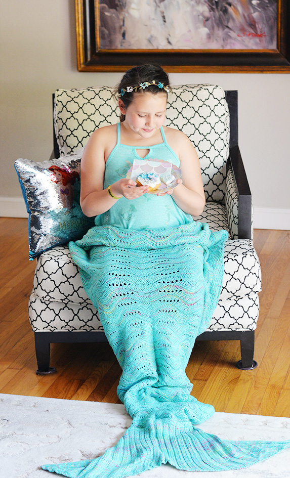 brooklin in mermaid blanket knit handmade