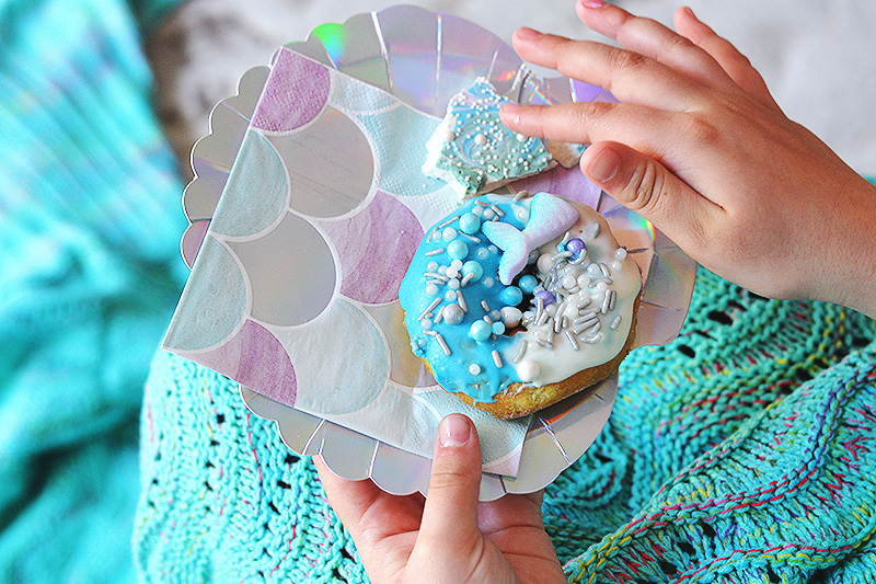 mermaid donut home made chocolate bark candy
