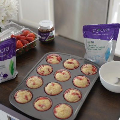 No Sugar Added Almond Strawberry Muffins